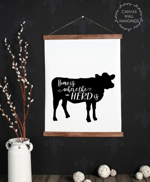 Large: 19x24 - Wood & Canvas Wall Hanging, Home Where Herd Is Cow Farm Wall Art