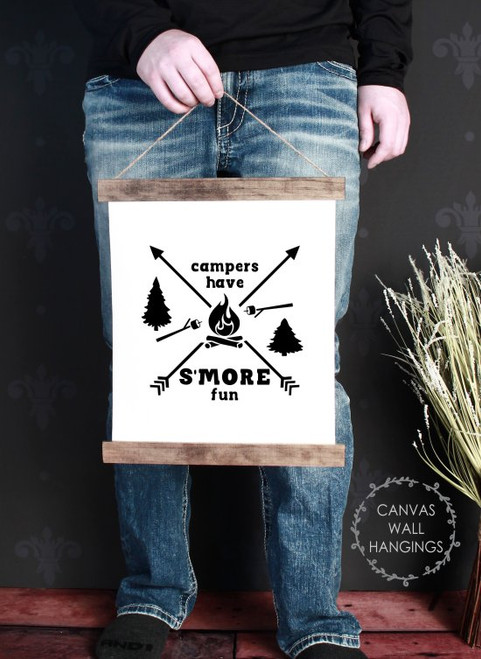 Small: 12x14.5 - Wood & Canvas Wall Hanging, Campers Have S'More Fun Camper Wall Art