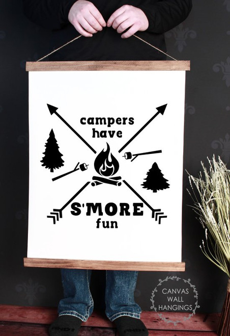 Large: 19x24 - Wood & Canvas Wall Hanging, Campers Have S'More Fun Camper Wall Art