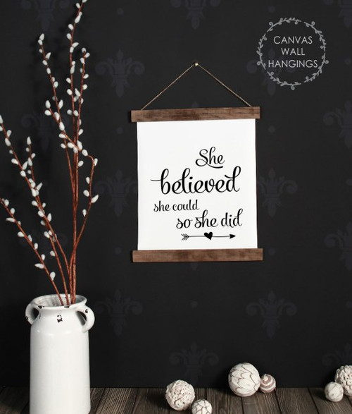 Small: 12x14.5 - Wood & Canvas Wall Hanging, She Believed She Could Inspiring Wall Art