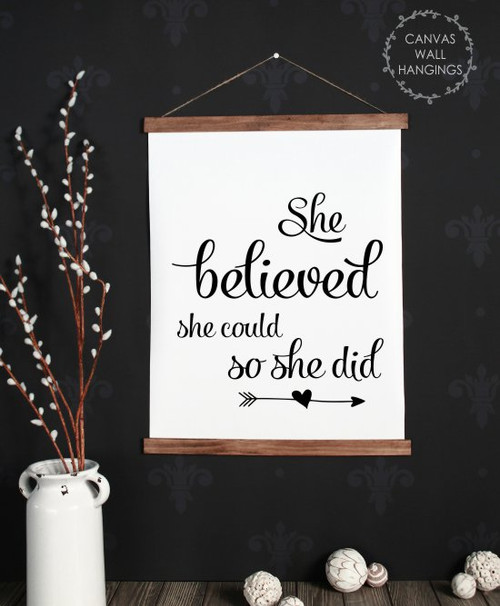 Large: 19x24 - Wood & Canvas Wall Hanging, She Believed She Could Inspiring Wall Art