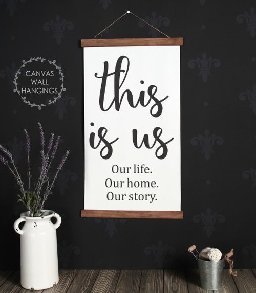 Large: 15x26 - Wood & Canvas Wall Hanging This Is Us Family Quote Wall Art