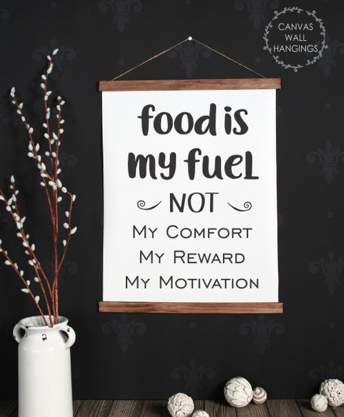 Large: 19x24 - Wood & Canvas Wall Hanging Food Is My Fuel Keto Diet Reminder Wall Art