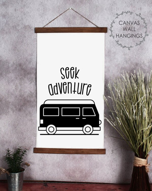 Large 15x24 Wood & Canvas Wall Hanging Seek Adventure Retro Camper Wall Art