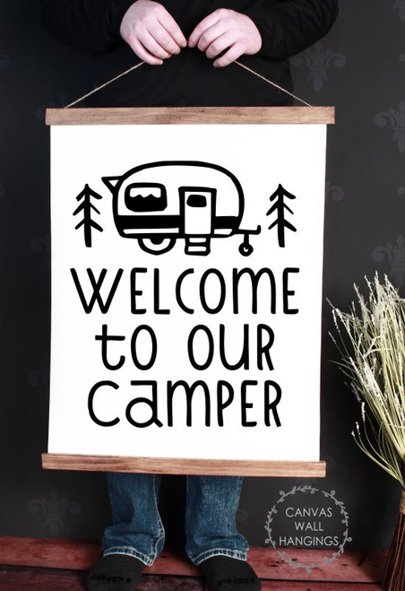Large 19x24 Wood & Canvas Wall Hanging Welcome To Our Camper Retro Wall Art