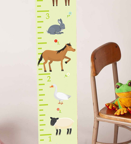 Wood Topped  Farm Animals Height Ruler Printed on Canvas Growth Chart