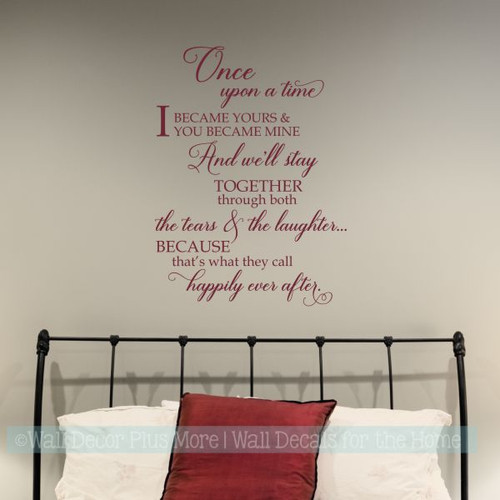 Bedroom Wall Decals Quotes Happily Ever After Vinyl Lettering Stickers-Burgundy