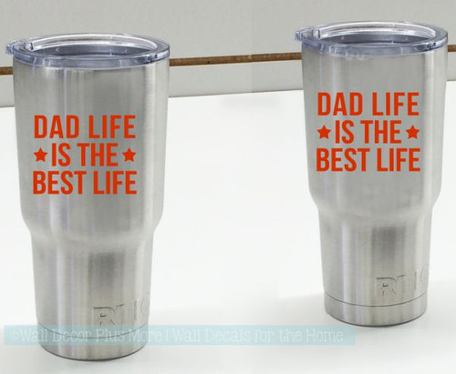 Father's Day Gift Dad Life Best Life Vinyl Car Tumbler Decal Stickers-Glossy Red