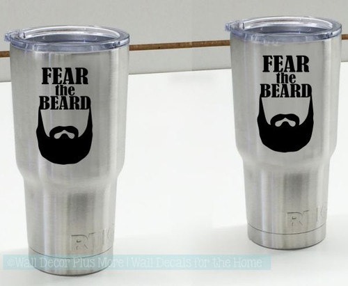 Car Tumbler Decals Fear The Beard Best Dad Gift Fathers Day Mug Stickers-Glossy Black