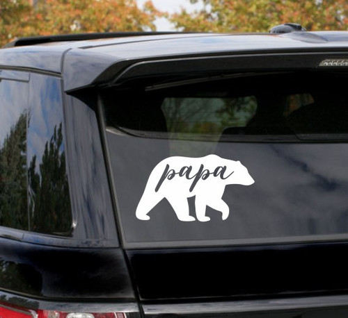 Car Window Sticker Papa Bear Father's Day Vinyl Art Decal Gift White