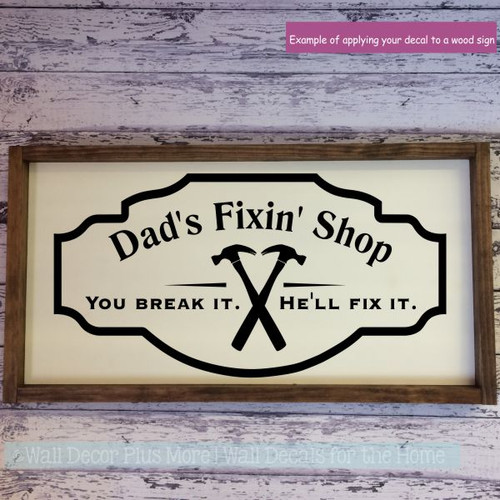 Father's Day Gift Dad's Grandpa's Fixin' Shop Vinyl Art Wall Decals-Black