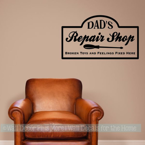 Father's Day Gift Dads Grandpas Repair Shop Vinyl Art Decal Stickers Black