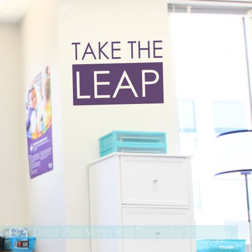 Inspirational Vinyl Wall Quotes Take The Leap Vinyl Lettering Decals-Plum