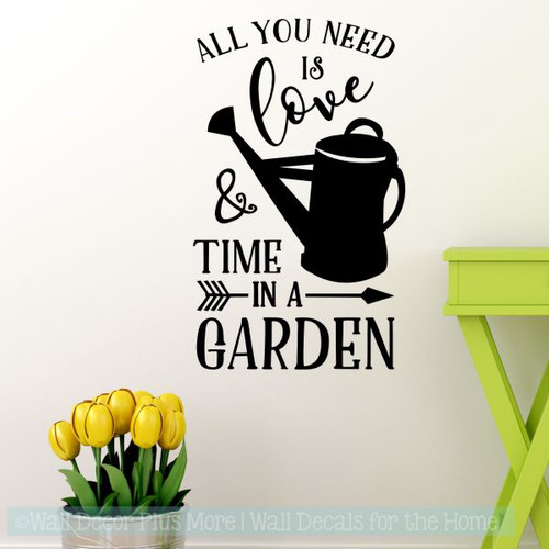 Mothers Day Gift Decal All You Need Time In Garden Love Wall Stickers-Black