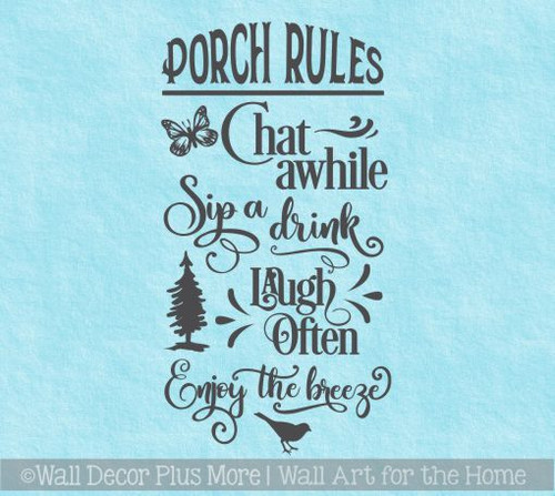 Farmhouse Decals Porch Rules Enjoy The Breeze Vinyl Art Sticker Decor