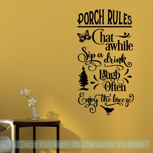 Farmhouse Decals Porch Rules Enjoy The Breeze Vinyl Art Sticker Decor-Black