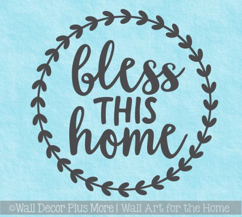 Farmhouse Wall Stickers Bless This Home Laurel Wreath Vinyl Art Decals