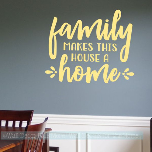 Kitchen Quotes Wall Art Decal Family Makes House Home Vinyl Home Decor-Buttercream