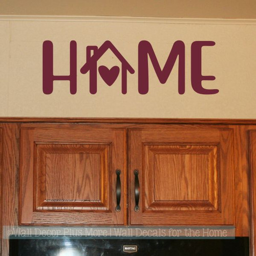 Home Word Decor Kitchen Wall Decals House Art Heart Vinyl Wall Sticker-Burgundy