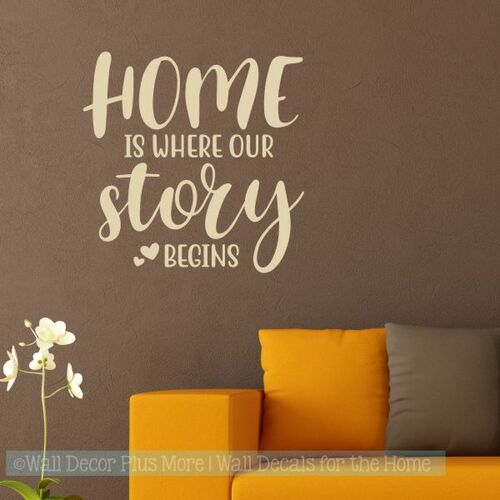 Farmhouse Wall Art Home Where Story Begins Vinyl Wall Decal Stickers-Beige