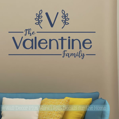 Farmhouse Wall Stickers Monogram Personalized Family Name Vinyl Decals Deep Blue