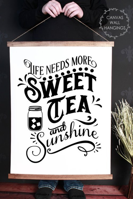 Wood & Canvas Wall Hanging Sweet Tea Sunshine Wall Art Sign XLarge