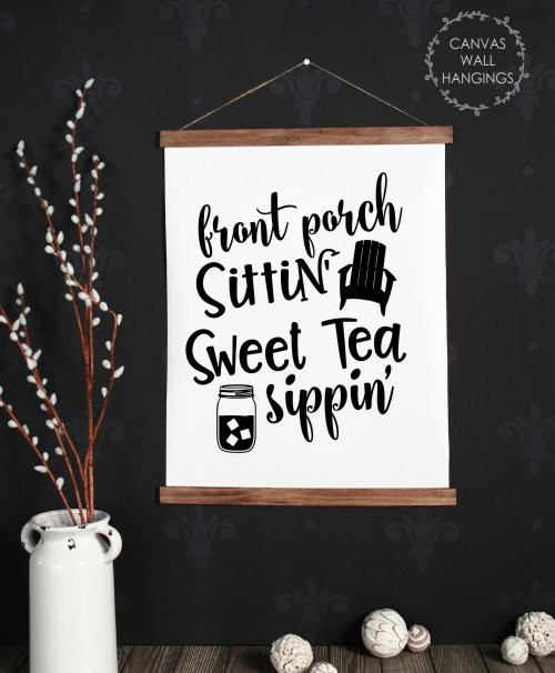 Wood & Canvas Wall Hanging Sweet Tea Sippin Porch Wall Art Sign Large