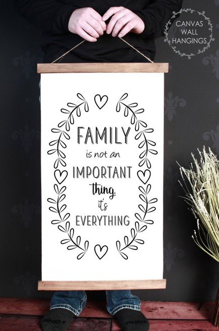 Wood & Canvas Wall Hanging Family Is Everything Farmhouse Wall Art Large