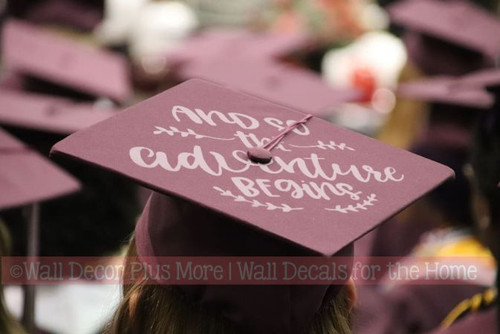Graduation Hat Decoration Vinyl Decal Sticker for Graduate Mortarboard-Option 1 Middle Gray And So The Adventure Begins