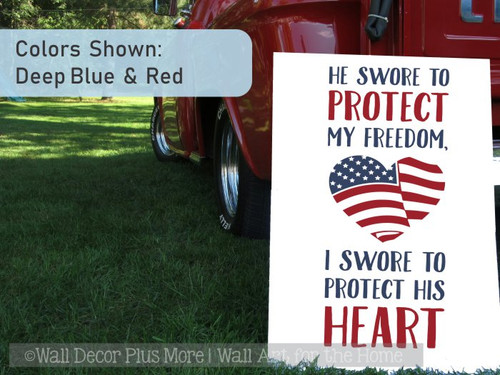 Patriotic Wall Decor Sticker Decal Protect Freedom Heart Military Quote-Deep Blue, Red