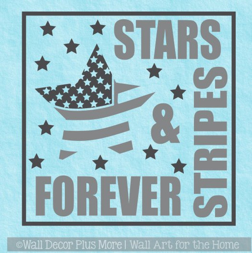 Patriotic Wall Decal Stars Stripes Forever Military Wall Art Sticker