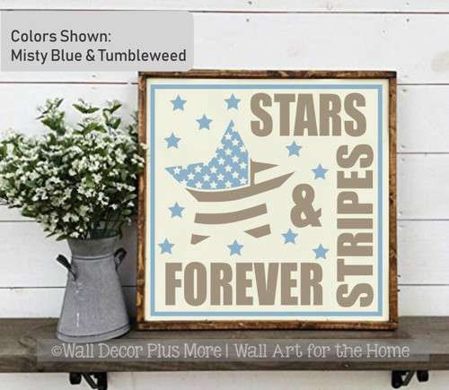 Patriotic Wall Decal Stars Stripes Forever Military Wall Art Sticker-Misty Blue, Tumbleweed