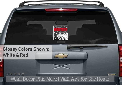 Patriotic Car Decal Proud Military Family Rippling Flag Vinyl Sticker-White, Red