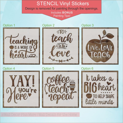 Teacher Gift Quotes Vinyl Stencil Stickers for Painting on a Wood Sign 6 different options