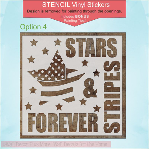 Patriotic Stencil Stickers Military Family Wall Art Paint a Wood Sign Stars Stripes Opt4