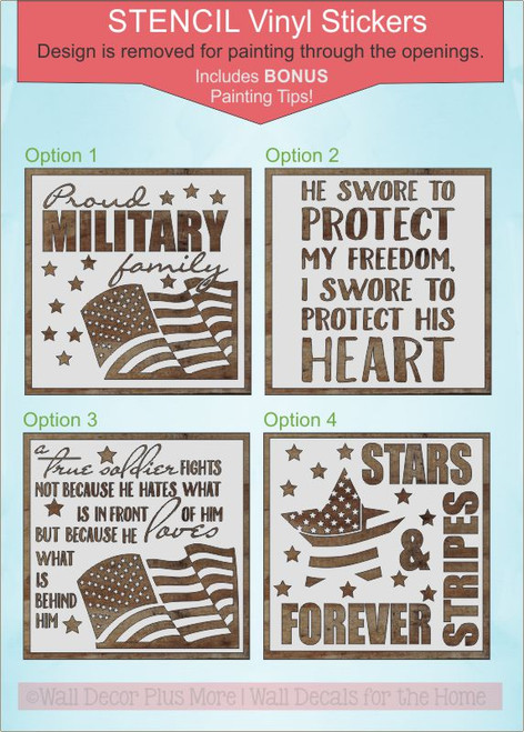 Patriotic Stencil Stickers Military Family Wall Art Paint a Wood Sign 4 different options