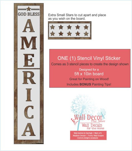 Patriotic Holiday Stencil Stickers America Stars Paint a Tall Wood Sign