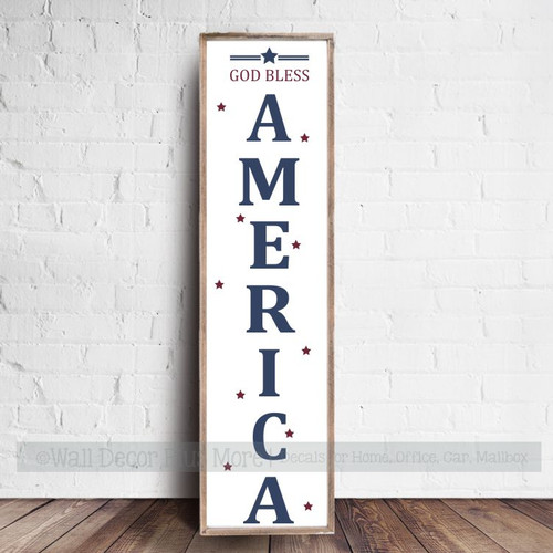 Patriotic Holiday Stencil Stickers America Stars Paint a Tall Wood Sign completed