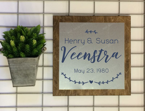 Metal on Wood Sign - Personalized Wood Sign with Names Established Dates Laurel Wreath Art