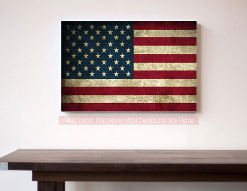 Patriotic Wall Art Canvas Print American Flag Rustic Decor Art 16x10-In