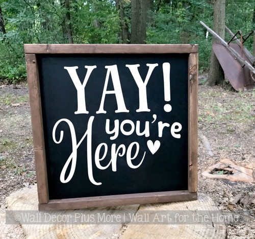 Welcome Wall Decal for Camper Classroom Home You're Here Vinyl Sticker-White