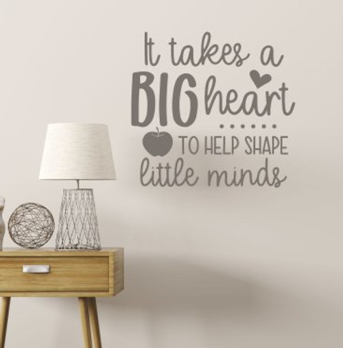 Teacher Wall Decal Big Heart Teach Little Minds Vinyl Art Decor Sticker-Castle Gray