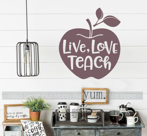 Classroom Wall Decoration Apple Live Love Teach Quote Vinyl Sticker Decal-Eggplant