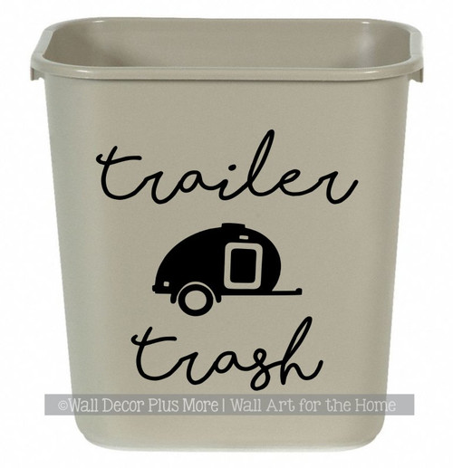 Camper Decals Trailer Trash Sticker Vintage RV Art for Garbage Can-Glsy Black