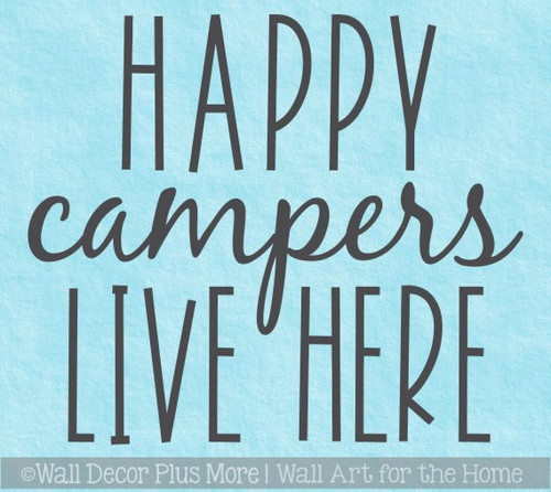 Camper Wall Decals RV Decor Art Happy Campers Live Here Quote Sticker