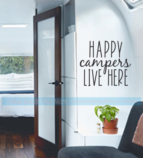 Camper Wall Decals RV Decor Art Happy Campers Live Here Quote Sticker-Black