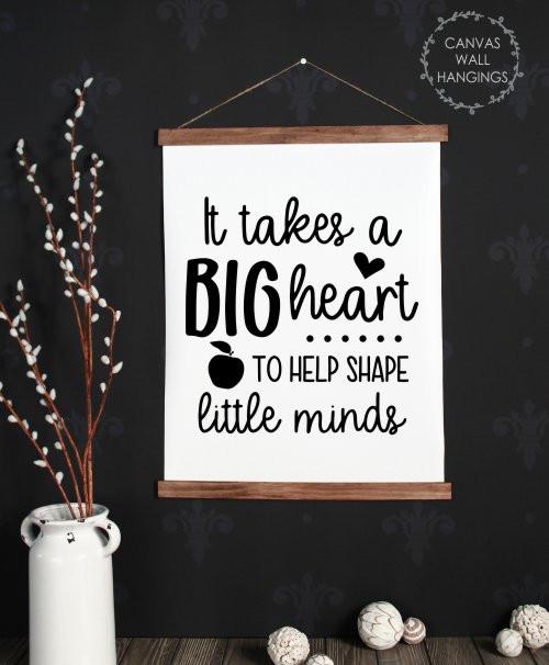 Wood, Canvas Wall Hanging Teacher Wall Sign Big Heart Shape Little Minds Large