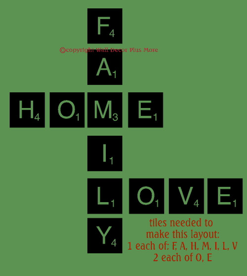 Family Home Love Scrabble Tile Layout Words Wall Decal