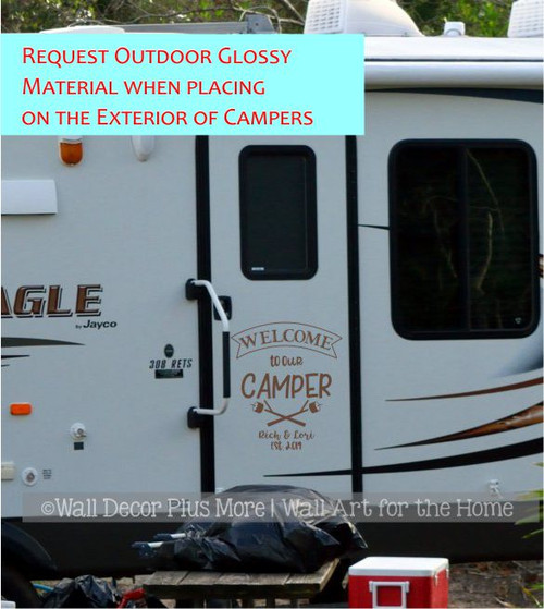 Personalized RV Camper Wall Decor Decal Welcome Sticker Names Est Date Glossy Copper