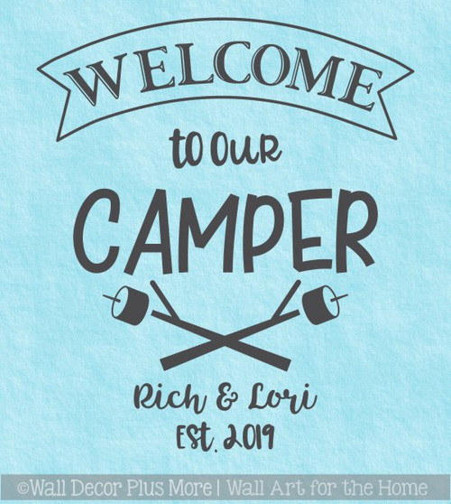 Personalized RV Camper Wall Decor Decal Welcome Sticker Names Est Date